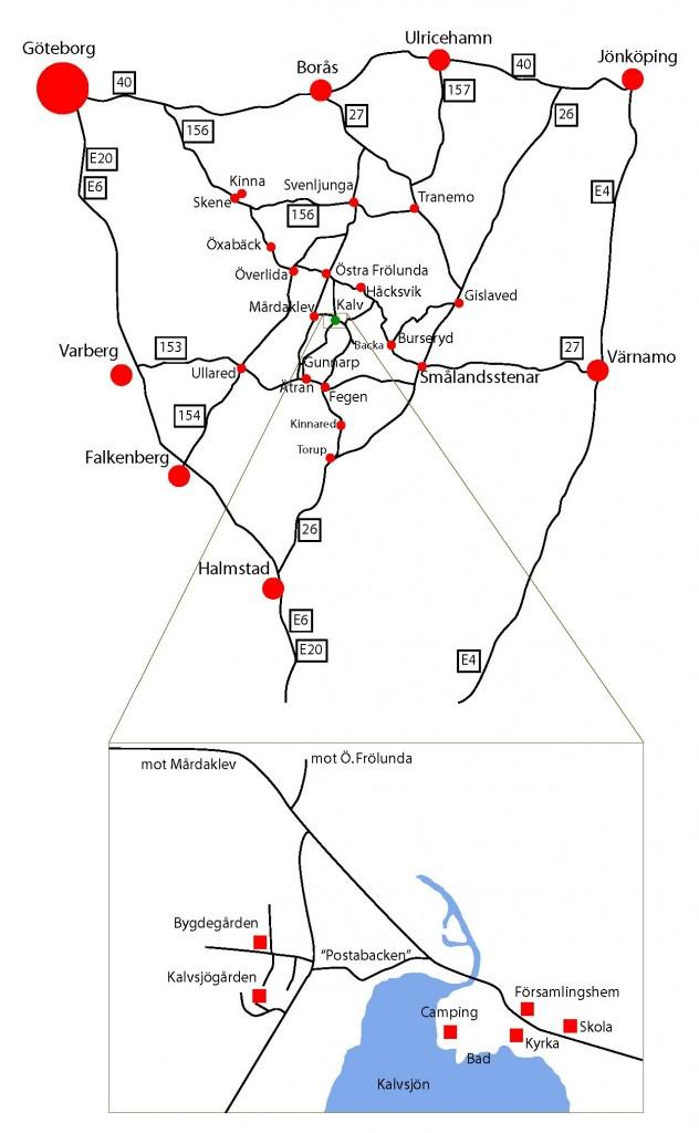 Karta över Kalv med omgivningar